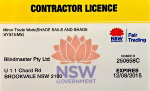 Blindmaster contractor's licence shade sails and shade systems